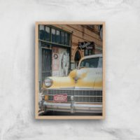 New York Cab Giclee Art Print - A4 - Wooden Frame - New York Gifts