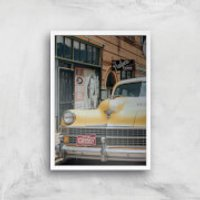 New York Cab Giclee Art Print - A4 - White Frame - New York Gifts