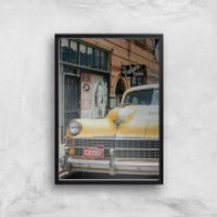 New York Cab Giclee Art Print - A4 - Black Frame - New York Gifts
