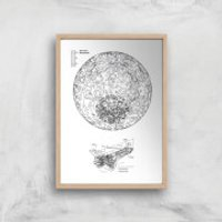 Planet And Rocket Giclee Art Print - A4 - Wooden Frame