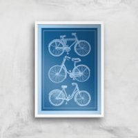 Bike Diagram Giclee Art Print - A4 - White Frame