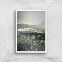 Steam Train Giclee Art Print - A4 - White Frame - Train Gifts
