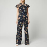 Hope & Ivy Women's Tara Jumpsuit with Back Cut Out - Navy Floral - UK 8