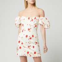 De La Vali Women's Koko Dress Printed Dress - White Rose Print - UK 6