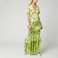De La Vali Womens Juliette Silk Satin Dress - Green Rose - UK 8