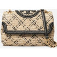 shop for Tory Burch Women's Fleming Soft Straw Small Convertible Shoulder Bag - Natural/Black at Shopo