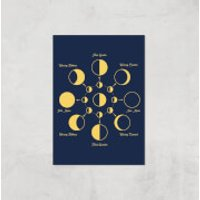 Phases Of The Moon Giclee Art Print - A3 - Print Only