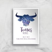 Taurus The Bull Giclee Art Print - A2 - White Frame