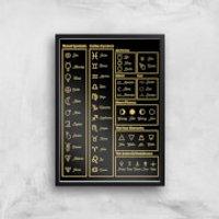 Astrology Symbols Giclée Art Print - A3 - Black Frame