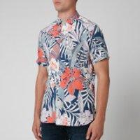 Ted Baker Mens Clapp Bold Leaf Print Shirt - Blue - S/2