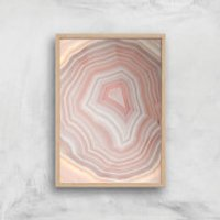 Coral Quartz Giclee Art Print - A4 - Wooden Frame - Coral Gifts
