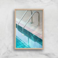 Vintage Swimming Pool Giclee Art Print - A4 - Wooden Frame - Pool Gifts