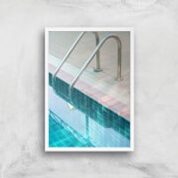 Vintage Swimming Pool Giclee Art Print - A4 - White Frame - Pool Gifts