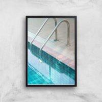 Vintage Swimming Pool Giclee Art Print - A2 - Black Frame - Pool Gifts