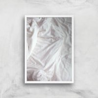 Bed Giclee Art Print - A4 - White Frame - Bed Gifts
