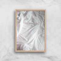 Bed Giclee Art Print - A3 - Wooden Frame - Bed Gifts