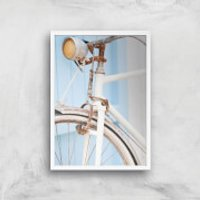 Rusty Bicycle Giclee Art Print - A4 - White Frame - Bicycle Gifts