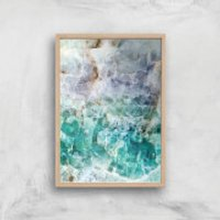 Turquoise Quartz Giclee Art Print - A3 - Wooden Frame - Turquoise Gifts