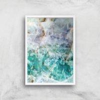 Turquoise Quartz Giclee Art Print - A3 - White Frame - Turquoise Gifts