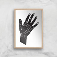Palmistry Hand Symbols Giclee Art Print - A4 - Wooden Frame