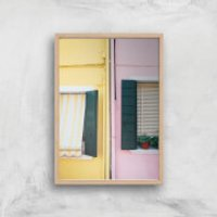 Holiday Home Giclee Art Print - A4 - Wooden Frame - Holiday Gifts