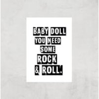 Baby Doll You Need Some Rock & Roll Giclee Art Print - A3 - Print Only - Doll Gifts