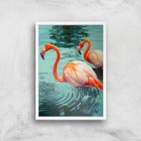 Flamingo Giclee Art Print - A4 - White Frame - Frame Gifts