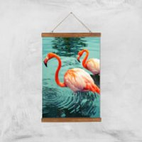 Flamingo Giclee Art Print - A3 - Wooden Hanger - Flamingo Gifts