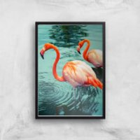 Flamingo Giclee Art Print - A3 - Black Frame - Frame Gifts