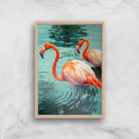 Flamingo Giclee Art Print - A2 - Wooden Frame - Frame Gifts
