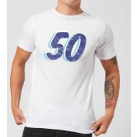 50 Distressed Men's T-Shirt - White - L - White