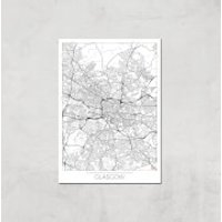 City Art Black and White Outlined Glasgow Map Art Print - A2 - Print Only