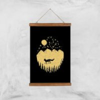 Moonlight Fox Adventure Art Print - A3 - Wooden Hanger