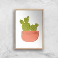 Two Potted Cacti Art Print - A2 - Wooden Frame