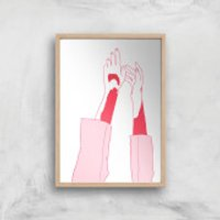 Hands In The Air Art Print - A4 - Wooden Frame
