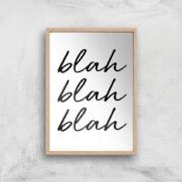Blah Blah Blah Art Print - A4 - Wooden Frame