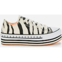 Converse Women's Chuck Taylor All Star Platform Layer Ox Trainers - Egret/Black/Gum - UK 4