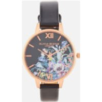 Olivia Burton Women's Enchanted Garden Began Watch - Black & Rose Gold