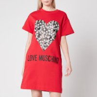 Love Moschino Womens Floral Heart T-Shirt Dress - Red - IT 40/UK8