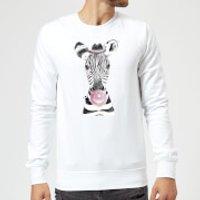 Bubblegum Zebra Sweatshirt - White - 5XL - White