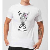 Floral Zebra Men's T-Shirt - White - S - White