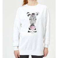 Bubblegum Zebra Women's Sweatshirt - White - XL - White