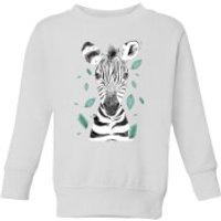 Zebra And Leaves Kids' Sweatshirt - White - 7-8 Years - White