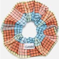 Ganni Women's Seersucker Check Scrunchie - Multicolour