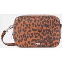Ganni Women's Leopard Print Leather Cross Body Bag - Toffee