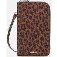 Ganni Women's Leopard Print Phone Bag - Toffee