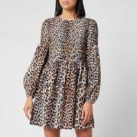 Ganni Women's Leopard Print Silk Blend Dress - Leopard - EU 40/UK 12