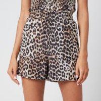 Ganni Women's Leopard Print Silk Blend Shorts - Leopard - EU 38/UK 10
