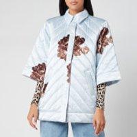 Ganni Womens Heavy Satin Quilted Floral Print Jacket - Heath