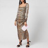 Ganni Women's Leopard Silk Blend Ruched Dress - Leopard - EU 36/UK 8